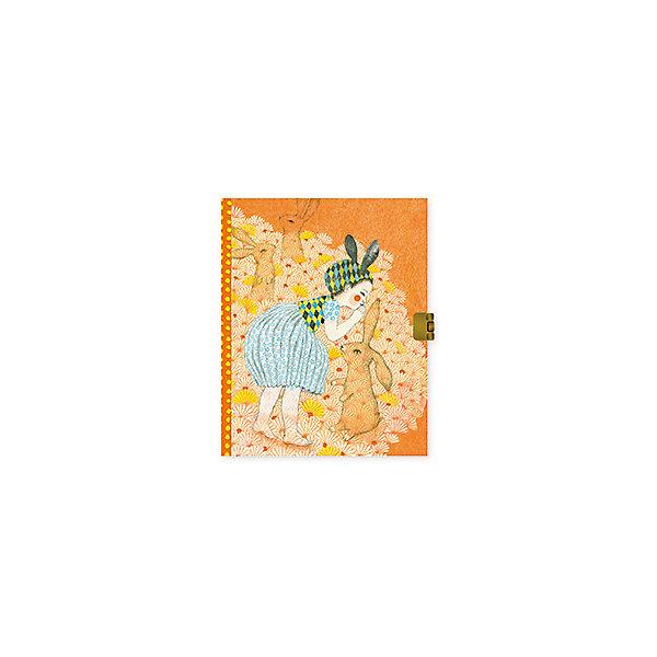 Блокнот с замочком Элоди, DjecoБумажная продукция<br>Блокнот с замочком Элоди из новой серии канцелярских товаров Lovely Paper от французского бренда Djeco непременно понравится и пригодится каждой девочке. <br><br>Блокнот имеет 92 линованные страницы, на обложке изображена девочка с зайчиками, а на каждой странице сверху небольшая картинка птички с цветочками. Переплет блокнота выполнен с неоновым эффектом, что делает его еще привлекательнее. <br><br>Закрывается блокнот на замочек, поэтому девочка сможет записывать в него свои сокровенные секреты и мечты, не боясь, что их кто-то прочитает.  А также блокнот подойдет для учебных заметок. <br><br>В комплекте:<br><br>блокнот,<br>замочек,<br>2 ключа.<br>Серия детских канцелярских товаров Lovely Paper включает в себя красочные блокноты, открытки, пеналы, фломастеры и карандаши, цветной скотч, стикеры для записок и другие аксессуары. Изображения на изделиях выполнены в свойственном для Djeco необычном и запоминающемся стиле. Все товары прекрасно сочетаются друг с другом.<br>Ширина мм: 50; Глубина мм: 170; Высота мм: 220; Вес г: 380; Возраст от месяцев: 36; Возраст до месяцев: 2147483647; Пол: Унисекс; Возраст: Детский; SKU: 7414756;