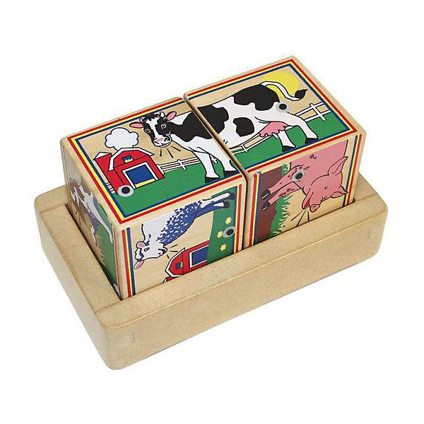 Кубики Melissa &amp; Doug Ферма со звукомКубики<br>Характеристики товара:<br><br>• возраст: от 2 лет;<br>• материал: дерево, пластик;<br>• батарейки: 2 тип ААА (в набор не входят)<br>• в комплекте: 2 кубика;<br>• размер упаковки: 18х10х9 см;<br>• вес упаковки: 658 гр.;<br>• страна производитель: Китай.<br><br>Кубики Melissa &amp; Doug (Мелисса и Даг) Ферма - это увлекательный развивающий набор из двух больших кубиков, с изображением животный, обитающих на ферме. <br><br>Собирая несложную картинку из кубиков, ребенок учится пространственному мышлению. А при правильной расстановке кубиков раздается звук, который издает обитатель фермы, что позволяет развить логическое мышление. <br><br>Melissa &amp; Doug является одним из ведущих брендов деревянных игрушек, для производства которых используется высококачественная древесина и нетоксичные красители.<br><br>Кубики Melissa &amp; Doug (Мелисса и Даг) Ферма можно купить в нашем интернет-магазине.<br>Ширина мм: 180; Глубина мм: 100; Высота мм: 90; Вес г: 658; Возраст от месяцев: 24; Возраст до месяцев: 2147483647; Пол: Унисекс; Возраст: Детский; SKU: 7416007;