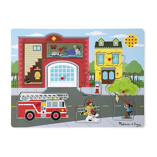 Рамка-вкладыш Melissa &amp; Doug Пожарная часть со звукомРамки-вкладыши<br>Характеристики товара:<br><br>• возраст: от 3 лет;<br>• материал: дерево;<br>• батарейки: 2 тип ААА (в набор не входят)<br>• в комплекте: 8 элементов;<br>• размер упаковки: 30х2х22 см;<br>• вес упаковки: 544 гр.;<br>• страна производитель: Китай.<br><br>Рамка-вкладыш Melissa &amp; Doug (Мелисса и Даг) Пожарная часть - это увлекательный и познавательный пазл для самых маленьких. Он поможет развить зрительную память, мелкую моторику и логическое мышление. Ребенок сможет окунуться в мир экстремальной работы пожарника с помощью звуковых эффектов, таких как звук сирены и потрескивание огня.<br><br>Рамка включает в себя 8 красочных вкладышей, каждая их которых изображает пожарную часть и окружающую ее территорию. Все вкладыши имеют деревянную ручку, чтобы малыш с легкостью смог перемещать и вставлять в необходимое место.<br><br>Melissa &amp; Doug является одним из ведущих брендов деревянных игрушек, для производства которых используется высококачественная обработанная древесина и нетоксичные красители.<br><br>Рамка-вкладыш Melissa &amp; Doug (Мелисса и Даг) Пожарная часть можно купить в нашем интернет-магазине.<br>Ширина мм: 300; Глубина мм: 20; Высота мм: 220; Вес г: 544; Возраст от месяцев: 24; Возраст до месяцев: 2147483647; Пол: Унисекс; Возраст: Детский; SKU: 7416026;