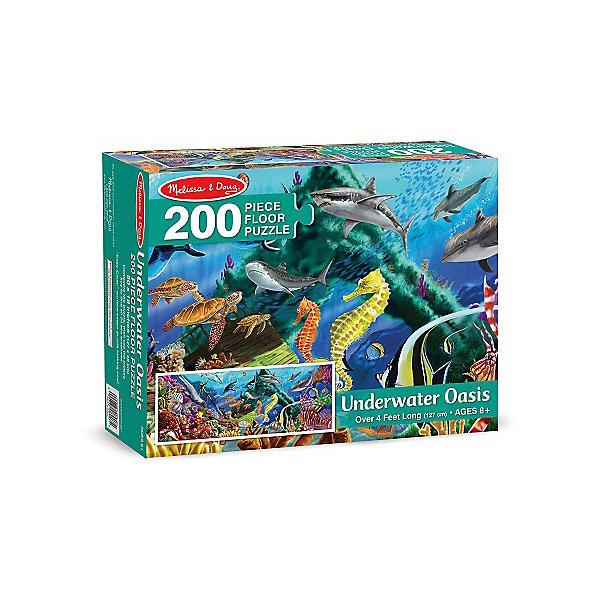 Напольный пазл Melissa &amp; Doug Подводный оазис 200 деталейКоврики-пазлы<br>Характеристики товара:<br><br>• возраст: от 8 лет;<br>• материал: картон;<br>• в комплекте: 200 элементов;<br>• размер упаковки: 30х8х24 см;<br>• вес упаковки: 1,3 кг.;<br>• страна производитель: Китай.<br><br>Напольный пазл Melissa &amp; Doug (Мелисса и Даг) Подводный оазис - это увлекательный и познавательный пазл для самых маленьких. Он поможет развить мелкую моторику, усидчивость и логическое мышление. <br><br>Пазл состоит из 200 красочных деталей, на которых изображены неизведанные глубины со своими загадочными обитателями. Все элементы легко соединяются и прочно прилегают друг к другу, что не позволяет ему рассыпаться. Широкие элементы пазла на 20% толще обычных, что позволяет долго сохранить хороший внешний вид.<br><br>Melissa &amp; Doug является одним из ведущих брендов игрушек, для производства которых используется высококачественный картон и нетоксичные красители.<br><br>Напольный пазл Melissa &amp; Doug (Мелисса и Даг) Подводный оазис можно купить в нашем интернет-магазине.<br>Ширина мм: 310; Глубина мм: 80; Высота мм: 240; Вес г: 1270; Возраст от месяцев: 96; Возраст до месяцев: 2147483647; Пол: Унисекс; Возраст: Детский; SKU: 7416031;