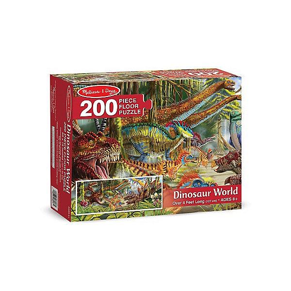 Напольный пазл Melissa &amp; Doug Жизнь динозавров 200 деталейКоврики-пазлы<br>Характеристики товара:<br><br>• возраст: от 8 лет;<br>• материал: картон;<br>• в комплекте: 200 элементов;<br>• размер упаковки: 30х8х24 см;<br>• вес упаковки: 1,3 кг.;<br>• страна производитель: Китай.<br><br>Напольный пазл Melissa &amp; Doug (Мелисса и Даг) Жизнь динозавров - это увлекательный и познавательный пазл для самых маленьких. Он поможет развить мелкую моторику, усидчивость и логическое мышление. <br><br>Пазл состоит из 200 красочных деталей с изображением неизведанных величественных динозавров. Все элементы легко соединяются и прочно прилегают друг к другу, что не позволяет ему рассыпаться. Широкие элементы пазла на 20% толще обычных, что позволяет долго сохранить хороший внешний вид.<br><br>Melissa &amp; Doug является одним из ведущих брендов игрушек, для производства которых используется высококачественный картон и нетоксичные красители.<br><br>Напольный пазл Melissa &amp; Doug (Мелисса и Даг) Жизнь динозавров можно купить в нашем интернет-магазине.<br>Ширина мм: 310; Глубина мм: 80; Высота мм: 240; Вес г: 1270; Возраст от месяцев: 96; Возраст до месяцев: 2147483647; Пол: Унисекс; Возраст: Детский; SKU: 7416032;