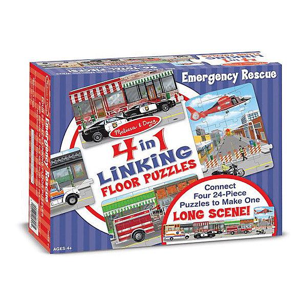 Набор напольных пазлов Melissa &amp; Doug Аварийно-спасательные машины 4 в 1Коврики-пазлы<br>Характеристики товара:<br><br>• возраст: от 8 лет;<br>• материал: картон;<br>• в комплекте: 96 элементов;<br>• размер упаковки: 30х8х24 см;<br>• вес упаковки: 1,3 кг.;<br>• страна производитель: Китай.<br><br>Набор пазлов Melissa &amp; Doug (Мелисса и Даг) «Аварийно-спасательная служба» - это увлекательный и познавательный пазл для самых маленьких. Он поможет развить мелкую моторику, усидчивость и логическое мышление. <br><br>Набор состоит из 4 пазлов, по 24 элемента в каждом. Каждый пазл иллюстрирует определенный элемент из службы спасения. Их можно соединить между собой и тогда получится реалистичная аварийно-спасательная служба для увлекательной сюжетной игры. Все элементы легко соединяются и прочно прилегают друг к другу, что не позволяет ему рассыпаться.<br><br>Melissa &amp; Doug является одним из ведущих брендов игрушек, для производства которых используется высококачественный картон и нетоксичные красители.<br><br>Набор пазлов Melissa &amp; Doug (Мелисса и Даг) «Аварийно-спасательная служба» можно купить в нашем интернет-магазине.<br>Ширина мм: 300; Глубина мм: 80; Высота мм: 230; Вес г: 1270; Возраст от месяцев: 48; Возраст до месяцев: 2147483647; Пол: Унисекс; Возраст: Детский; SKU: 7416036;