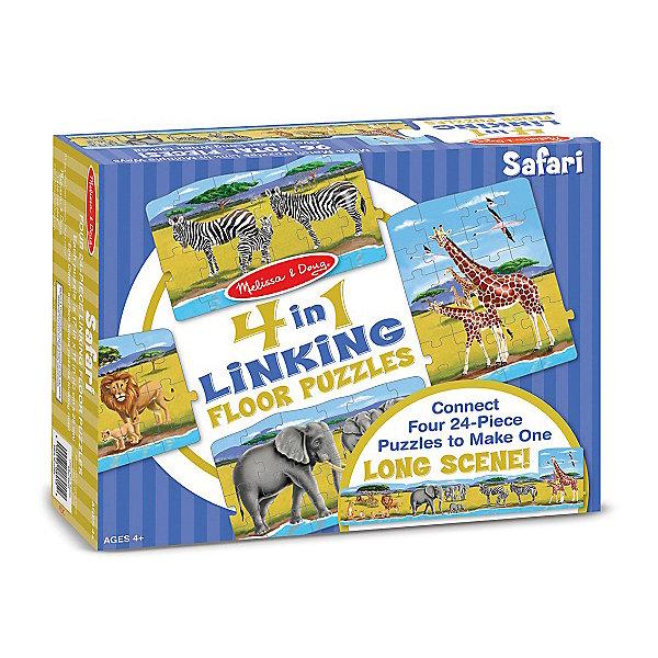 Набор напольных пазлов Melissa &amp; Doug Сафари 4 в 1Коврики-пазлы<br>Характеристики товара:<br><br>• возраст: от 8 лет;<br>• материал: картон;<br>• в комплекте: 96 элементов;<br>• размер упаковки: 30х8х24 см;<br>• вес упаковки: 1,3 кг.;<br>• страна производитель: Китай.<br><br>Набор пазлов Melissa &amp; Doug (Мелисса и Даг) «Сафари» - это увлекательный и познавательный пазл для самых маленьких. Он поможет развить мелкую моторику, усидчивость и логическое мышление. <br><br>Набор состоит из 4 пазлов, по 24 элемента в каждом. Каждый пазл иллюстрирует различный жителей сафари. Их можно соединить между собой и тогда получится реалистичная панорама жаркого сафари для увлекательной сюжетной игры. Все элементы легко соединяются и прочно прилегают друг к другу, что не позволяет ему рассыпаться.<br><br>Melissa &amp; Doug является одним из ведущих брендов игрушек, для производства которых используется высококачественный картон и нетоксичные красители.<br><br>Набор пазлов Melissa &amp; Doug (Мелисса и Даг) «Сафари» можно купить в нашем интернет-магазине.<br>Ширина мм: 290; Глубина мм: 80; Высота мм: 230; Вес г: 1270; Возраст от месяцев: 36; Возраст до месяцев: 2147483647; Пол: Унисекс; Возраст: Детский; SKU: 7416037;