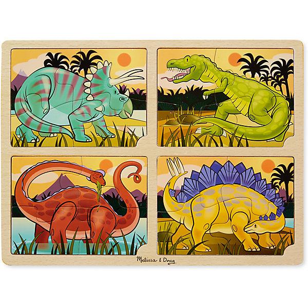 Набор пазлов Melissa &amp; Doug Динозавры 4 в 1Пазлы для малышей<br>Характеристики товара:<br><br>• возраст: от 2 лет;<br>• материал: дерево;<br>• в комплекте: 16 элементов;<br>• размер упаковки: 40х1х30 см;<br>• вес упаковки:658 гр.;<br>• страна производитель: Китай.<br><br>Набор пазлов Melissa &amp; Doug (Мелисса и Даг) Динозавры - это увлекательный и познавательный пазл для самых маленьких. Он познакомит ребенка с формами, поможет развить мелкую моторику и усидчивость.<br><br>Набор состоит из 4 пазлок по 4 элемента в каждом изображены неизведанные, величественные и загадочные динозавры. Все элементы легко соединяются и прочно прилегают друг к другу, что не позволяет ему рассыпаться.<br><br>Melissa &amp; Doug является одним из ведущих брендов деревянных игрушек, для производства которых используется высококачественная обработанная древесина и нетоксичные красители.<br><br>Набор пазлов Melissa &amp; Doug (Мелисса и Даг) Динозавтры можно купить в нашем интернет-магазине.<br>Ширина мм: 400; Глубина мм: 10; Высота мм: 300; Вес г: 658; Возраст от месяцев: 24; Возраст до месяцев: 2147483647; Пол: Унисекс; Возраст: Детский; SKU: 7416046;