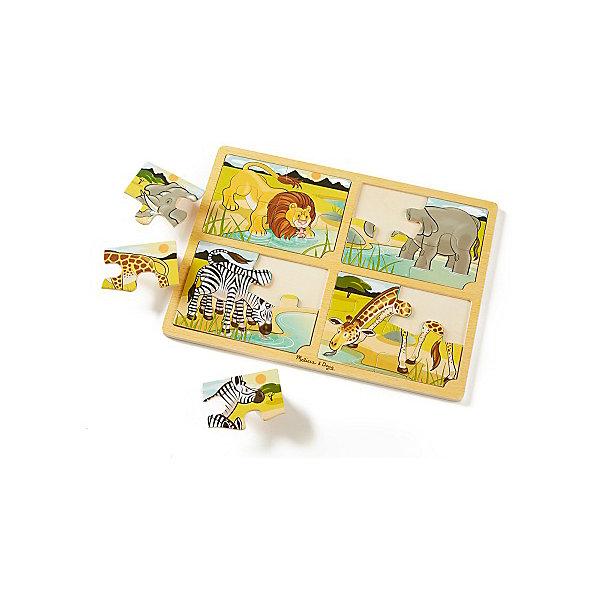 Набор пазлов Melissa &amp; Doug Сафари 4 в 1Пазлы для малышей<br>Характеристики товара:<br><br>• возраст: от 2 лет;<br>• материал: дерево;<br>• в комплекте: 16 элементов;<br>• размер упаковки: 40х1х30 см;<br>• вес упаковки:454 гр.;<br>• страна производитель: Китай.<br><br>Набор пазлов Melissa &amp; Doug (Мелисса и Даг) «Сафари» - это увлекательный и познавательный пазл для самых маленьких. Он поможет развить мелкую моторику, усидчивость и логическое мышление. <br><br>Набор состоит из 4 пазлов, по 4 элемента в каждом. Каждый пазл иллюстрирует различный жителей сафари. Их можно соединить между собой и тогда получится реалистичная панорама жаркого сафари для увлекательной сюжетной игры. Все элементы легко соединяются и прочно прилегают друг к другу, что не позволяет ему рассыпаться.<br><br>Melissa &amp; Doug является одним из ведущих брендов игрушек, для производства которых используется высококачественное обработаное дерево и нетоксичные красители.<br><br>Набор пазлов Melissa &amp; Doug (Мелисса и Даг) «Сафари» можно купить в нашем интернет-магазине.<br>Ширина мм: 400; Глубина мм: 10; Высота мм: 300; Вес г: 454; Возраст от месяцев: 24; Возраст до месяцев: 2147483647; Пол: Унисекс; Возраст: Детский; SKU: 7416047;