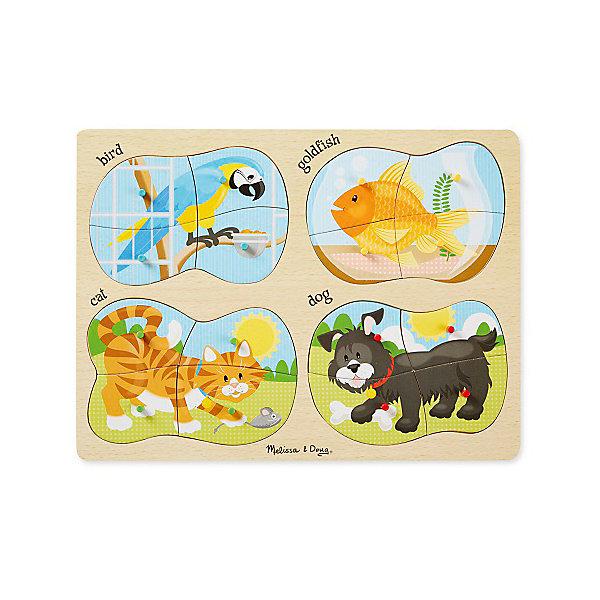 Набор напольных пазлов Melissa &amp; Doug Домашние животные 4 в 1Пазлы для малышей<br>Характеристики товара:<br><br>• возраст: от 3 лет;<br>• материал: дерево;<br>• в комплекте: 16 элемента;<br>• размер упаковки: 40х1х30 см;<br>• вес упаковки: 635 гр.;<br>• страна производитель: Китай.<br><br>Набор пазлов Melissa &amp; Doug (Мелисса и Даг) Домашние животные - это увлекательный и познавательный пазл для самых маленьких. Он познакомит ребенка с формами, поможет развить мелкую моторику и усидчивость.<br><br>Комплект состоит 4 пазлов по 4 элемента в каждом, на которых изображены веселые резвящиеся домашние животные на лужайке. Все элементы легко соединяются и прочно прилегают друг к другу, что не позволяет ему рассыпаться.<br><br>Melissa &amp; Doug является одним из ведущих брендов деревянных игрушек, для производства которых используется высококачественная обработанная древесина и нетоксичные красители.<br><br>Набор пазлов Melissa &amp; Doug (Мелисса и Даг) Домашние животные можно купить в нашем интернет-магазине.<br>Ширина мм: 400; Глубина мм: 10; Высота мм: 300; Вес г: 635; Возраст от месяцев: 36; Возраст до месяцев: 2147483647; Пол: Унисекс; Возраст: Детский; SKU: 7416050;