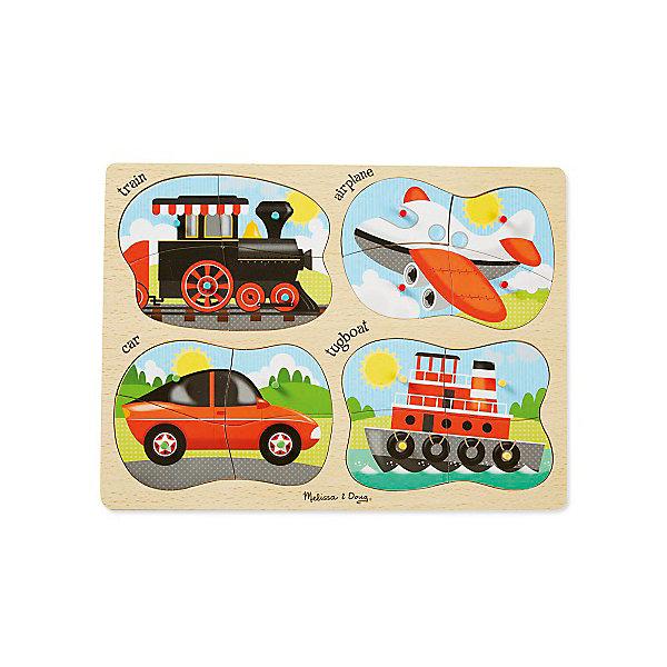 Набор напольных пазлов Melissa &amp; Doug Транспорт 4 в 1Пазлы для малышей<br>Характеристики товара:<br><br>• возраст: от 3 лет;<br>• материал: дерево;<br>• в комплекте: 16 элемента;<br>• размер упаковки: 40х1х30 см;<br>• вес упаковки: 635 гр.;<br>• страна производитель: Китай.<br><br>Набор пазлов Melissa &amp; Doug (Мелисса и Даг) Транспорт - это увлекательный и познавательный пазл для самых маленьких. Он познакомит ребенка с формами, поможет развить мелкую моторику и усидчивость.<br><br>Комплект состоит 4 пазлов по 4 элемента в каждом, на которых изображены различные виды транспорта. Все элементы легко соединяются и прочно прилегают друг к другу, что не позволяет ему рассыпаться.<br><br>Melissa &amp; Doug является одним из ведущих брендов деревянных игрушек, для производства которых используется высококачественная обработанная древесина и нетоксичные красители.<br><br>Набор пазлов Melissa &amp; Doug (Мелисса и Даг) Транспорт можно купить в нашем интернет-магазине.<br>Ширина мм: 410; Глубина мм: 20; Высота мм: 300; Вес г: 658; Возраст от месяцев: 24; Возраст до месяцев: 2147483647; Пол: Унисекс; Возраст: Детский; SKU: 7416051;