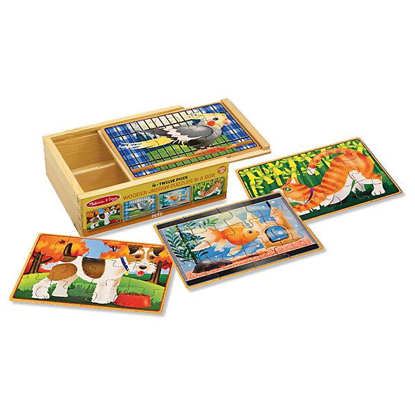 Набор пазлов Melissa &amp; Doug Домашние животные 4 в 1Пазлы для малышей<br>Характеристики товара:<br><br>• возраст: от 3 лет;<br>• материал: дерево;<br>• в комплекте: 24 элемента;<br>• размер упаковки: 19х6х15 см;<br>• вес упаковки: 431 гр.;<br>• страна производитель: Китай.<br><br>Набор пазлов Melissa &amp; Doug (Мелисса и Даг) Домашние животные - это увлекательный и познавательный пазл для самых маленьких. Он познакомит ребенка с формами, поможет развить мелкую моторику и усидчивость.<br><br>Комплект состоит 4 пазлов по 12 элемента в каждом, на которых изображены наши четвероногие любимцы. Все элементы легко соединяются и прочно прилегают друг к другу, что не позволяет ему рассыпаться. Каждый пазл хранится отдельно в прочной деревянной коробке.<br><br>Melissa &amp; Doug является одним из ведущих брендов деревянных игрушек, для производства которых используется высококачественная обработанная древесина и нетоксичные красители.<br><br>Набор пазлов Melissa &amp; Doug (Мелисса и Даг) Домашние животные можно купить в нашем интернет-магазине.<br>Ширина мм: 190; Глубина мм: 60; Высота мм: 150; Вес г: 431; Возраст от месяцев: 36; Возраст до месяцев: 2147483647; Пол: Унисекс; Возраст: Детский; SKU: 7416053;