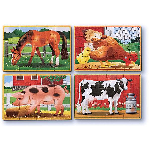 Набор пазлов Melissa &amp; Doug Ферма 4 в 1Пазлы для малышей<br>Характеристики товара:<br><br>• возраст: от 3 лет;<br>• материал: дерево;<br>• в комплекте: 24 элемента;<br>• размер упаковки: 19х6х14 см;<br>• вес упаковки: 454 гр.;<br>• страна производитель: Китай.<br><br>Набор пазлов Melissa &amp; Doug (Мелисса и Даг) Ферма - это увлекательный и познавательный пазл для самых маленьких. Он познакомит ребенка с формами, поможет развить мелкую моторику и усидчивость.<br><br>Комплект состоит 4 пазлов по 12 элемента в каждом, на которых изображены веселые обитатели фермы. Все элементы легко соединяются и прочно прилегают друг к другу, что не позволяет ему рассыпаться. Каждый пазл хранится отдельно в прочной деревянной коробке.<br><br>Melissa &amp; Doug является одним из ведущих брендов деревянных игрушек, для производства которых используется высококачественная обработанная древесина и нетоксичные красители.<br><br>Набор пазлов Melissa &amp; Doug (Мелисса и Даг) Домашние животные можно купить в нашем интернет-магазине.<br><br>Ширина мм: 190<br>Глубина мм: 60<br>Высота мм: 140<br>Вес г: 454<br>Возраст от месяцев: 36<br>Возраст до месяцев: 2147483647<br>Пол: Унисекс<br>Возраст: Детский<br>SKU: 7416054