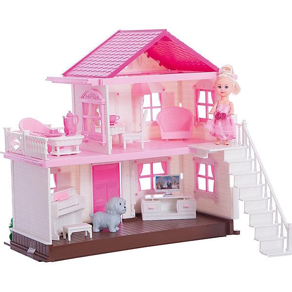 Дом для Мегги Shantou Gepai, с куклой, мебелью и аксессуарами.Домики для кукол<br>Характеристики:<br><br>• возраст: от 3 лет<br>• в наборе: кукла, собачка, столик, 2 кресла, пианино с табуретом, напольная лампа, туалетный столик с выдвижным ящиком и зеркалом, стул, тумба с телевизором, светящаяся люстра, 2 тарелки, 2 кружки, 2 блюдца, кувшин, бокал, 2 вилки, 2 ножика<br>• высота куклы: 11 см.<br>• размер домика: 34х15х33,5 см.<br>• материал: пластмасса<br>• батарейки: 3 типа AG13/1,5 V (для люстры)<br>• наличие батареек: входят в комплект<br>• упаковка: картонная коробка блистерного типа<br>• размер упаковки: 36х20х36 см.<br>• вес: 2,2 кг.<br><br>В красивом домике у малышки Мэгги и ее домашнего питомца – собачки есть всё для прекрасной и счастливой жизни. Домик двухэтажный, на втором этаже расположен открытый балкон. В домике есть лестница, по которой Мэгги сможет подниматься на второй этаж. Ручки и ножки куклы подвижны.<br><br>В наборе имеются различные мебель и аксессуары, с помощью которых ребенок сможет обустроить комнаты. Столик, 2 кресла, пианино с табуретом, напольная лампа, туалетный столик с выдвижным ящиком и зеркалом, стул, тумба с телевизором, красивая светящаяся люстра, которую можно установить на потолке в прихожей – все это позволит сделать комнаты домика уютными. Также в набор входит игрушечная посуда для куклы: 2 тарелки, 2 кружки, 2 блюдца, кувшин, бокал, 2 вилки и 2 ножика.<br><br>Набор изготовлен из качественной пластмассы. Конструкция домика прочная, поэтому прослужит ребенку довольно долго.<br><br>Дом для Мегги Shantou Gepai, с куклой, мебелью и аксессуарами можно купить в нашем интернет-магазине.<br>Ширина мм: 360; Глубина мм: 200; Высота мм: 360; Вес г: 2200; Возраст от месяцев: 36; Возраст до месяцев: 2147483647; Пол: Женский; Возраст: Детский; SKU: 7417189;