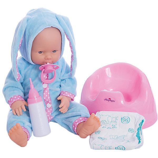 Кукла Позаботься обо мне Mary Poppins, коллекция Зайка.Куклы<br>Характеристики:<br><br>• возраст: от 3 лет<br>• в комплекте: кукла, бутылочка, соска-пустышка, горшок, подгузник<br>• высота куклы: 38 см.<br>• материал: пластик, текстиль<br>• упаковка: картонная коробка блистерного типа<br><br>Трогательная кукла Элис из коллекции «Зайка» торговой марки Mary Poppins отлично подойдет для сюжетно-ролевых игр в «дочки-матери». Кукла детально проработана и очень похожа на настоящего малыша. Элис одета в голубенький комбинезон с капюшоном, к которому пришиты длинные ушки, похожие на заячьи.<br><br>Кукла умеет пить и писать. В комплекте с куклой поставляется горшок, бутылочка, соска-пустышка и настоящий подгузник. Можно напоить куколку из бутылочки водой и посадить на горшок или надеть ей подгузник.<br><br>Кукла изготовлена из качественного пластика. Ручки и ножки подвижны.<br><br>Куклу Позаботься обо мне Mary Poppins, коллекция Зайка можно купить в нашем интернет-магазине.<br>Ширина мм: 215; Глубина мм: 210; Высота мм: 340; Вес г: 960; Возраст от месяцев: 36; Возраст до месяцев: 2147483647; Пол: Женский; Возраст: Детский; SKU: 7417191;