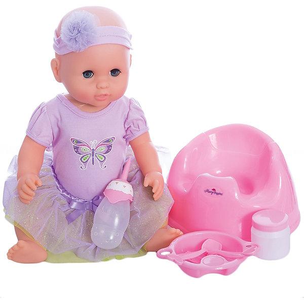 Кукла Лили Позаботься обо мне Mary Poppins, коллекция Бабочка.Куклы<br>Характеристики:<br><br>• возраст: от 3 лет<br>• в комплекте: кукла, бутылочка, тарелка, вилка, ложка, баночка, горшок<br>• высота куклы: 43 см.<br>• материал: пластик, текстиль<br>• на батарейках<br>• упаковка: картонная коробка блистерного типа<br><br>Милая кукла Лили из коллекции «Бабочка» торговой марки Mary Poppins отлично подойдет для сюжетно-ролевых игр в «дочки-матери». Лили одета в красивое платье с пышной юбочкой и принтом в виде бабочки на груди. На голове у куклы – кокетливая повязка.<br><br>Кукла умеет пить и писать. В комплекте с куклой поставляется бутылочка, тарелка, вилка, ложка, баночка, горшок. Можно напоить куколку из бутылочки водой и посадить на горшок. А еще малышка Лили разговаривает, плачет и смеется. Куклу можно укладывать спать - в горизонтальном положении ее глаза закрываются.<br><br>Кукла изготовлена из качественного пластика. Ручки и ножки подвижны.<br><br>Куклу Лили Позаботься обо мне Mary Poppins, коллекция Бабочка можно купить в нашем интернет-магазине.<br>Ширина мм: 340; Глубина мм: 120; Высота мм: 400; Вес г: 1420; Возраст от месяцев: 36; Возраст до месяцев: 2147483647; Пол: Женский; Возраст: Детский; SKU: 7417192;