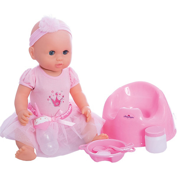 Кукла Лили Позаботься обо мне Mary Poppins, коллекция Корона.Куклы<br>Характеристики:<br><br>• возраст: от 3 лет<br>• в комплекте: кукла, бутылочка, тарелка, вилка, ложка, баночка, горшок<br>• высота куклы: 43 см.<br>• материал: пластик, текстиль<br>• на батарейках<br>• упаковка: картонная коробка блистерного типа<br><br>Милая кукла Лили из коллекции «Корона» торговой марки Mary Poppins отлично подойдет для сюжетно-ролевых игр в «дочки-матери». Лили одета в красивое платье с пышной юбочкой и принтом в виде корны на груди. На голове у куклы – кокетливая повязка.<br><br>Кукла умеет пить и писать. В комплекте с куклой поставляется бутылочка, тарелка, вилка, ложка, баночка, горшок. Можно напоить куколку из бутылочки водой и посадить на горшок. А еще малышка Лили разговаривает, плачет и смеется. Куклу можно укладывать спать - в горизонтальном положении ее глаза закрываются.<br><br>Кукла изготовлена из качественного пластика. Ручки и ножки подвижны.<br><br>Куклу Лили Позаботься обо мне Mary Poppins, коллекция Корона можно купить в нашем интернет-магазине.<br><br>Ширина мм: 340<br>Глубина мм: 120<br>Высота мм: 400<br>Вес г: 1420<br>Возраст от месяцев: 36<br>Возраст до месяцев: 2147483647<br>Пол: Женский<br>Возраст: Детский<br>SKU: 7417193