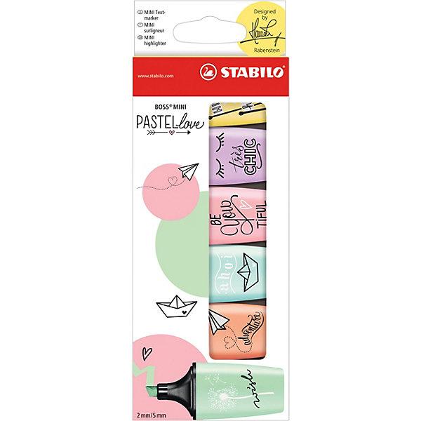 Набор текстовыделителей STABILO, BOSS MINI PASTELLOVE, 6 цв/уп, блистерФломастеры<br>Характеристики:<br><br>• возраст: от 3 лет<br>• в наборе: 6 текстовыделителей<br>• количество цветов: 6<br>• цвета: ванильный, персиковый, мятный, розовый, лавандовый, бирюзовый<br>• толщина линии: от 2 до 5 мм.<br>• материал корпуса: пластик<br>• упаковка: блистер<br>• размер упаковки: 7х1,4х19 см.<br>• вес: 60 гр.<br><br>Популярная узнаваемая форма и высокий стандарт качества делают текстовыделители Stabilo Boss Mini Pastellove идеальными для творческой работы и раскрашивания. Они легко помещаются в карман и находятся под рукой всегда, когда это нужно.<br><br>Популярный дизайн в шести модных пастельных тонах. Высокий стандарт качества. Текстовыделители Stabilo Boss Mini Pastellove идеально подходит для подчеркивания, выделения, раскрашивания и тонировки.<br><br>Текстовыделители Stabilo Boss Mini Pastellove предназначены для любителей рисования маркерами и ценителей мягких пастельных оттенков.<br><br>Эксклюзивный дизайн художника Ханны Рабенштайн.<br><br>Набор текстовыделителей STABILO, BOSS MINI PASTELLOVE, 6 цв/уп, блистер можно купить в нашем интернет-магазине.<br><br>Ширина мм: 70<br>Глубина мм: 14<br>Высота мм: 190<br>Вес г: 60<br>Возраст от месяцев: 36<br>Возраст до месяцев: 2147483647<br>Пол: Унисекс<br>Возраст: Детский<br>SKU: 7417378