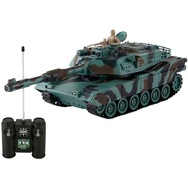 Радиоуправляемая игрушка Yako Toys Боевой танк М1А2 Абрамс, 1:24, зеленыйРадиоуправляемые танки<br>Характеристики:<br><br>• возраст: от 3 лет<br>• комплектация: танк, пульт управления, аккумулятор, зарядное устройство<br>• особенности: пушка с инфракрасным излучателем; функция автоотключения; имитация отката при выстреле; поворот башни на 320 градусов; подъём на наклонную поверхность при угле наклона - до 45 градусов.<br>• модель танка: М1А2 «Абрамс»<br>• масштаб: 1:24<br>• материал: пластик, металл<br>• скорость танка: 6 км/ч<br>• время игры: 15-20 мин.<br>• время зарядки: 4 часа<br>• радиус действия пульта: 12 м.<br>• частота: 27 МГц<br>• питание танка: аккумулятор Ni Cd 600 mAh 4.8V<br>• батарейки: 2 типа AA / LR6 1.5V (для пульта)<br>• наличие батареек: не входят в комплект<br>• упаковка: картонная коробка блистерного типа<br>• размер упаковки:41х19х15,5 см.<br>•вес: 1,3 кг.<br><br>Радиоуправляемый «М1А2. Абрамс» от компании Yako (Йако) станет прекрасным подарком для каждого любителя машинок или военной техники. Игрушка выполнена в реалистичной манере и является точной масштабной копией боевого американского танка М1А2 «Абрамс», выполненной в пропорции 1:24.<br><br>Танк имеет поворотную башню (поворот башни на 320 градусов) с пушкой, оснащенной инфракрасным излучателем. Пушка стреляет маленькими пластиковыми снарядами (не входят в комплект). После выстрела танк откатывается назад совсем как настоящий. В люке танка находится фигурка человека с пулеметом. <br><br>Модель отличается высокой проходимостью и способна подниматься на наклонную поверхность при угле наклона - до 45 градусов и развивать скорость движения до 6 км/в час. Танк легко управляется с помощью пульта. Радиус действия пульта 12 метров. Предусмотрен демо режим с функцией автоматического отключения.<br><br>Танк изготовлен из прочных экологически чистых материалов.<br><br>Радиоуправляемую игрушку Yako Toys Боевой танк М1А2 Абрамс, 1:24, зеленый можно купить в нашем интернет-магазине.<br>Ширина мм: 410;
