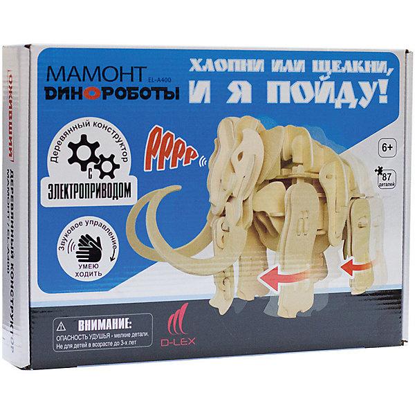 Деревянный конструктор Мамонт, звуковой контроль для движенияДеревянные модели<br>Характеристики товара:<br><br>• возраст: от 6 лет;<br>• материал:  дерево, пластик, металл;<br>• количество деталей:  87 шт.;<br>• в комплекте: детали конструктора, 1 пластиковая деталь, блок для батарей, датчик звука, моторчик;<br>• батарейки в комплекте: не входят в комплект;<br>• тип батареек: 3 x AA / LR6 1. 5V (пальчиковые);<br>• размер упаковки: 32х5х23 см.;<br>• упаковка: картонная коробка;<br>• вес в упаковке: 660 гр.;<br>• бренд, страна бренда: D-LEX, Россия;<br>• страна-изготовитель: Китай.<br><br>Деревянный конструктор «Мамонт» из серии «Динороботы» от D-Lex порадует детей и поможет создать модель древнего животного, которая послужит оригинальной игрушкой и дополнит интерьер детской комнаты.<br><br>Конструктор состоит из 87 деревянных деталей для сборки фигурки мамонта, электромеханических деталей и датчика звука. Детали легко и надежно крепятся друг к другу по штырьково-пазовой системе. Ребенка впечатлит возможность самостоятельно создать интерактивную игрушку, умеющую ходить и издавать оригинальные звуки. <br><br>Отличительной особенностью конструктора является то, что собранная фигурка приходит в движение от звукового сигнала. Например, от хлопка в ладоши или щелчка. <br><br>Конструктор познакомит ребенка с азами электромеханики. Набор пробуждает у ребенка интерес к естественным наукам, учит терпению, вниманию и логическому мышлению, развивает творческие способности и создает благоприятный эмоциональный фон.<br><br>Рекомендуемый возраст: от 6 лет, под наблюдением взрослых.<br><br>Деревянный конструктор «Мамонт», звуковой контроль для движения, D-LEX можно купить в нашем интернет-магазине.<br>Ширина мм: 320; Глубина мм: 50; Высота мм: 230; Вес г: 660; Возраст от месяцев: 72; Возраст до месяцев: 2147483647; Пол: Унисекс; Возраст: Детский; SKU: 7419283;
