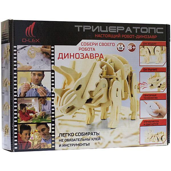 Деревянный конструктор Трицератопс , звуковой контроль, звуковые эффектыДеревянные модели<br>Характеристики товара:<br><br>• возраст: от 6 лет;<br>• материал:  дерево, пластик, металл;<br>• количество деталей: 88 шт.;<br>• в комплекте: детали конструктора, блок для батарей, датчик звука, моторчик, пульт ДУ, инструкция;<br>• батарейки в комплекте: не входят в комплект;<br>• тип батареек: 3 x AA / LR6 1. 5V (пальчиковые);<br>• размер упаковки: 32х6х23 см.;<br>• упаковка: картонная коробка;<br>• вес в упаковке: 1,1 кг.;<br>• бренд, страна бренда: D-LEX, Россия;<br>• страна-изготовитель: Китай.<br><br>Деревянный конструктор «Трицератопс» из серии «Динороботы» от D-Lex порадует детей и поможет создать модель древнего животного, которая послужит оригинальной игрушкой и дополнит интерьер детской комнаты.<br><br>В состав набора входят несколько деревянных листов фанеры с деталями, различные датчики, моторчики и пульт дистанционного управления. Шаг за шагом, следуя инструкции, собирайте вместе более чем 88 деревянных деталей (не забудьте правильно расположить инфракрасные, шумовые и световые датчики) без использования каких-либо инструментов, клея и шурупов!<br><br>Строительство требует терпения и немного усилий, но когда работа завершена, вы будете восхищены красивейшей моделью робота-динозавра, которым можно еще и управлять! <br>Он двигается! Ходит или бежит вперед! Издает реалистичные звуки динозавра! Реагирует на смену обстановки, громкий звук и свет!<br><br>Включает три режима игры:<br>• Демонстрационный -разумно реагирует на изменение окружающей обстановки!<br>• Искусственный интеллект! Динозавр сам двигается, рычит и бегает!<br>• Управление с помощью пульта.<br><br>Для пульта дистанционного управления вам понадобятся 2 батарейки «ААА». Для динозавра-робота Вам понадобятся 3 батарейки «АА». Батарейки в набор не входят.<br><br>Конструктор познакомит ребенка с азами электромеханики. Набор пробуждает у ребенка интерес к естественным наукам, учит терпению, вниманию и логич