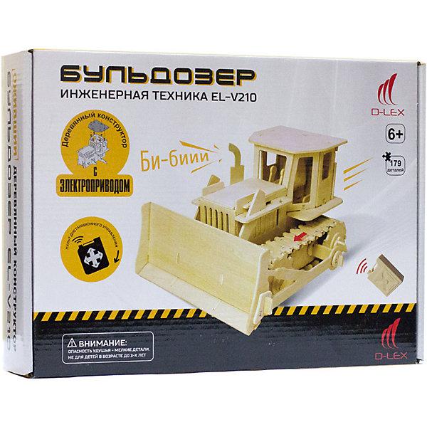 Деревянный конструктор Бульдозер , звуковые эффектыДеревянные модели<br>Характеристики товара:<br><br>• возраст: от 6 лет;<br>• материал:  дерево, пластик, металл;<br>• в комплекте: 179 шт.;<br>• в комплекте: детали конструктора, мотор для машины, пульт Д/У, инструкция;<br>• батарейки в комплекте: не входят в комплект;<br>• тип батареек: 5 x AAA / LR0.3 1.5V (мизинчиковые);<br>• размер упаковки: 32х6х23 см.;<br>• упаковка: картонная коробка;<br>• вес в упаковке: 1 кг.;<br>• бренд, страна бренда: D-LEX, Россия;<br>• страна-изготовитель: Китай.<br><br>Деревянный конструктор «Бульдозер» от D-Lex порадует детей и поможет создать модель строительной техники, которая послужит оригинальной игрушкой и  дополнит интерьер детской комнаты.<br><br>Набор выполнен из дерева и состоит из 179 деталей. Элементы надежно соединяются между собой. Управление грузовиком производится с помощью специального пульта. К тому же автомобиль может издавать звук гудка. В комплект входит подробная инструкция, которая поможет ребенку самостоятельно собрать будущую игрушку.<br><br>Набор пробуждает у ребенка интерес к естественным наукам, учит терпению, вниманию и логическому мышлению, развивает творческие способности и создает благоприятный эмоциональный фон.<br><br>Рекомендуемый возраст: от 6 лет, под наблюдением взрослых.<br><br>Деревянный конструктор «Бульдозер», пульт управления, звуковые эффекты, D-LEX можно купить в нашем интернет-магазине.<br>Ширина мм: 320; Глубина мм: 60; Высота мм: 230; Вес г: 1000; Возраст от месяцев: 72; Возраст до месяцев: 2147483647; Пол: Унисекс; Возраст: Детский; SKU: 7419298;