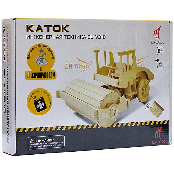 Деревянный конструктор Каток , звуковые эффектыДеревянные модели<br>Характеристики товара:<br><br>• возраст: от 6 лет;<br>• материал:  дерево, пластик, металл;<br>• в комплекте: 78 шт.;<br>• в комплекте: детали конструктора, мотор для машины, пульт Д/У, инструкция;<br>• батарейки в комплекте: не входят в комплект;<br>• тип батареек: 5 x AAA / LR0.3 1.5V (мизинчиковые);<br>• размер упаковки: 32х6х23 см.;<br>• упаковка: картонная коробка;<br>• вес в упаковке: 1 кг.;<br>• бренд, страна бренда: D-LEX, Россия;<br>• страна-изготовитель: Китай.<br><br>Деревянный конструктор «Каток» от D-Lex порадует детей и поможет создать модель строительной техники, которая послужит оригинальной игрушкой и  дополнит интерьер детской комнаты.<br><br>Набор выполнен из дерева и состоит из 78 деталей. Элементы надежно соединяются между собой. Управление грузовиком производится с помощью специального пульта. К тому же автомобиль может издавать звук гудка. В комплект входит подробная инструкция, которая поможет ребенку самостоятельно собрать будущую игрушку.<br><br>Набор пробуждает у ребенка интерес к естественным наукам, учит терпению, вниманию и логическому мышлению, развивает творческие способности и создает благоприятный эмоциональный фон.<br><br>Рекомендуемый возраст: от 6 лет, под наблюдением взрослых.<br><br>Деревянный конструктор «Каток», пульт управления, звуковые эффекты, D-LEX можно купить в нашем интернет-магазине.<br>Ширина мм: 320; Глубина мм: 60; Высота мм: 230; Вес г: 920; Возраст от месяцев: 72; Возраст до месяцев: 2147483647; Пол: Унисекс; Возраст: Детский; SKU: 7419299;