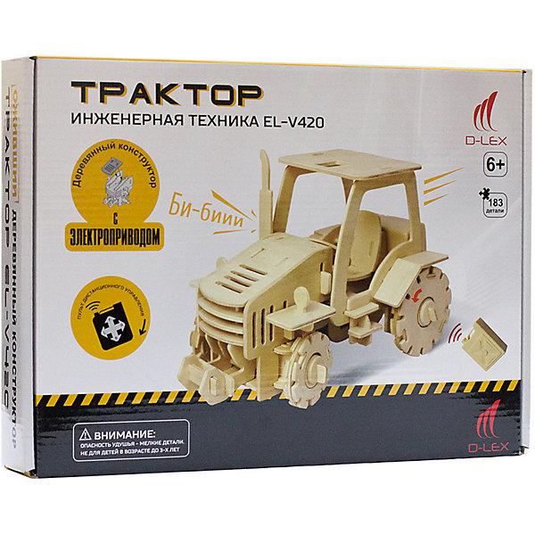Деревянный конструктор Трактор , звуковые эффектыДеревянные модели<br>Характеристики товара:<br><br>• возраст: от 6 лет;<br>• материал:  дерево, пластик, металл;<br>• в комплекте: 183 шт.;<br>• в комплекте: детали конструктора, мотор для машины, пульт Д/У, инструкция;<br>• батарейки в комплекте: не входят в комплект;<br>• тип батареек: 5 x AAA / LR0.3 1.5V (мизинчиковые);<br>• размер упаковки: 32х6х23 см.;<br>• упаковка: картонная коробка;<br>• вес в упаковке: 1 кг.;<br>• бренд, страна бренда: D-LEX, Россия;<br>• страна-изготовитель: Китай.<br><br>Деревянный конструктор «Трактор» от D-Lex порадует детей и поможет создать модель строительной техники, которая послужит оригинальной игрушкой и  дополнит интерьер детской комнаты.<br><br>Набор выполнен из дерева и состоит из 183 деталей. Элементы надежно соединяются между собой. Управление грузовиком производится с помощью специального пульта. К тому же автомобиль может издавать звук гудка. В комплект входит подробная инструкция, которая поможет ребенку самостоятельно собрать будущую игрушку.<br><br>Набор пробуждает у ребенка интерес к естественным наукам, учит терпению, вниманию и логическому мышлению, развивает творческие способности и создает благоприятный эмоциональный фон.<br><br>Рекомендуемый возраст: от 6 лет, под наблюдением взрослых.<br><br>Деревянный конструктор «Трактор», пульт управления, звуковые эффекты, D-LEX можно купить в нашем интернет-магазине.<br><br>Ширина мм: 320<br>Глубина мм: 60<br>Высота мм: 230<br>Вес г: 1060<br>Возраст от месяцев: 72<br>Возраст до месяцев: 2147483647<br>Пол: Унисекс<br>Возраст: Детский<br>SKU: 7419300