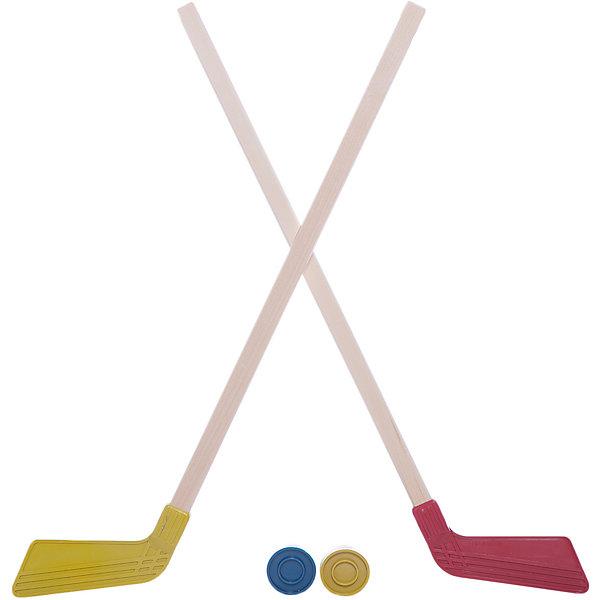 Набор - клюшка детская хоккейная 80 см 2 шт. +2 шайбы КХ-2-55Хоккей и зимний инвентарь<br>Характеристики:<br><br>• возраст: от 3 лет<br>• в наборе: клюшка детская хоккейная (80 см.) 2 шт., шайба 2 шт.<br>• материал клюшки: рукоять - дерево, крюк – пластик<br>• материал шайбы: пластик<br>• упаковка: пакет с европодвесом<br>• вес в упаковке: 500 гр.<br>• цвет в ассортименте<br>• ВНИМАНИЕ! Данный артикул представлен в разных вариантах исполнения. К сожалению, заранее выбрать определенный вариант невозможно. При заказе нескольких наборов возможно получение одинаковых<br><br>Хоккейный набор отлично подойдет для активного отдыха. Удобные клюшки и прочные шайбы изготовлены из качественных материалов, а значит, даже самая напряженная игра продлится долго.<br><br>Набор не предназначен для игры на льду. Рекомендуется использовать его для игровых целей внутри помещения и на открытом воздухе.<br><br>Набор - клюшка детская хоккейная 80 см 2 шт. +2 шайбы КХ-2-55 можно купить в нашем интернет-магазине.<br>Ширина мм: 20; Глубина мм: 320; Высота мм: 800; Вес г: 500; Возраст от месяцев: 36; Возраст до месяцев: 120; Пол: Унисекс; Возраст: Детский; SKU: 7419958;