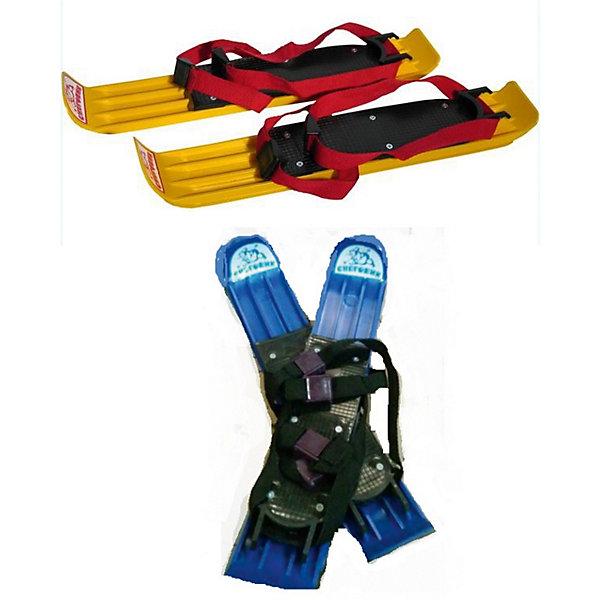 Мини лыжи «Снеговик»Лыжи и сноуборды<br>Характеристики:<br><br>• возраст: от 4 лет<br>• комплектация: лыжи 2 шт., ремни с пряжками 4 шт.<br>• размер лыж: 42х8х2 см.<br>• вес: 500 гр.<br>• материал: пластик<br>• цвет в ассортименте<br>• ВНИМАНИЕ! Данный артикул представлен в разных вариантах исполнения. К сожалению, заранее выбрать определенный вариант невозможно. При заказе нескольких мини-лыж возможно получение одинаковых<br><br>Мини-лыжи «Снеговик», выполненные из прочного гибкого пластика, предназначены для катания по снежному покрову, по плоской умеренно наклонной местности. Они отлично подойдут для обучения ребенка катанию на лыжах. Лыжи великолепно скользят по снегу, они очень легкие и удобные.<br><br>Лыжи крепятся к обуви при помощи текстильных ремней с пластиковыми пряжками. Они надежно фиксируются на любой обуви и не сползают. Благодаря рельефному рисунку на креплениях, ноги ребенка не будут соскальзывать, что обеспечит дополнительную безопасность при катании.<br><br>Мини лыжи «Снеговик» можно купить в нашем интернет-магазине.<br><br>Ширина мм: 80<br>Глубина мм: 450<br>Высота мм: 80<br>Вес г: 500<br>Возраст от месяцев: 48<br>Возраст до месяцев: 120<br>Пол: Унисекс<br>Возраст: Детский<br>SKU: 7419961