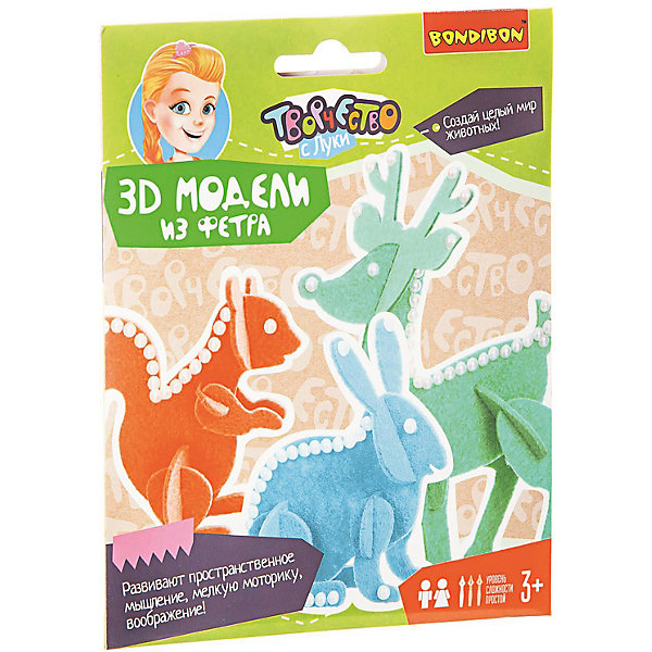 Пазл 3D Животные Bondibon3D пазлы<br>Характеристики:<br><br>• возраст: от 3 лет;<br>• материал: фетр, пластмасса;<br>• в наборе: 3 выкройки, аксессуары для украшения (самоклеящиеся бусины);<br>• вес: 53 гр.;<br>• размер упаковки: 14х1х18 см.<br><br>3D пазл Bondibon сделан из фетра и очень приятен на ощупь. Все, что нужно сделать — это отделить детали пазла от основы, скрепить их в забавную фигуру животного и дополнить поделку бусинами. Клей не понадобится.<br><br>Игра развивает пространственное мышление и логику, способствует развитию творческих способностей ребенка.<br><br>Пазл 3D «Животные» Bondibon можно купить в нашем интернет-магазине.<br>Ширина мм: 140; Глубина мм: 10; Высота мм: 180; Вес г: 53; Возраст от месяцев: 36; Возраст до месяцев: 2147483647; Пол: Унисекс; Возраст: Детский; SKU: 7419974;