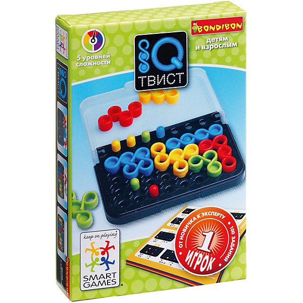 Игра-головоломка Твист BondibonГоловоломки - игры<br>Характеристики:<br><br>• возраст: от 6 лет;<br>• материал: пластик;<br>• в наборе: буклет с 100 заданиями с ответами, 8 цветных деталей, 7 фишек, игровая доска с отделением для хранения;<br>• 5 уровней сложности;<br>• количество игроков: 1;<br>• вес упаковки: 211 гр.;<br>• размер упаковки: 3х9,5х14,5 см.<br><br>Головоломка «IQ Твист» от Bondibon неспроста получила название танца. В игре предстоит дать волю воображению и закружить все фишки на поле в любом порядке. Но не все так просто! Детали должны сочетаться с хитро выставленными фишками. Чтобы пройти игру понадобится вся логика и сообразительность.<br><br>Для разнообразия предусмотрено 100 заданий разной сложности. Головоломка улучшает внимательность и занимает ребенка на долгое время.<br><br>Игру-головоломку «Твист» Bondibon можно купить в нашем интернет-магазине.<br>Ширина мм: 30; Глубина мм: 95; Высота мм: 145; Вес г: 211; Возраст от месяцев: 72; Возраст до месяцев: 2147483647; Пол: Унисекс; Возраст: Детский; SKU: 7419985;