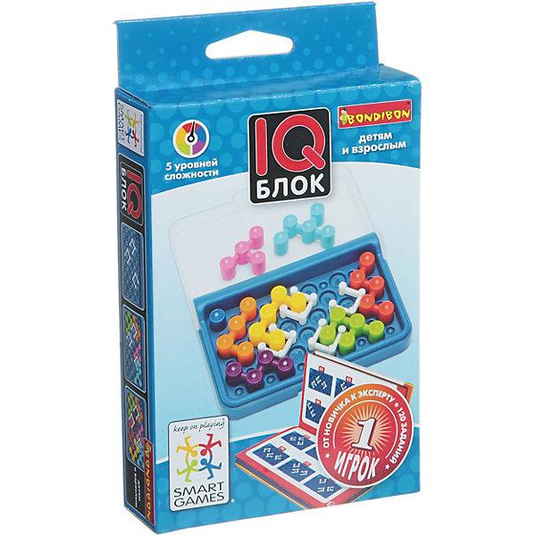 Игра-головоломка Блок BondibonГоловоломки - игры<br>Характеристики:<br><br>• возраст: от 6 лет;<br>• материал: пластик;<br>• в наборе: игровое поле, буклет с 120 заданиями, 4 игровых элемента-стены, 7 цветных деталей;<br>• 5 уровней сложности;<br>• количество игроков: 1;<br>• вес упаковки: 219 гр.;<br>• размер упаковки: 3х9,5х14,5 см.<br><br>Главная цель игры «IQ блок» от Bondibon — заполнить все поле вокруг неподвижных фишек-стен цветными игровыми элементами. Сделать это не так просто — задания усложняются с каждым разом.<br><br>Эта головоломка понравится и детям, и взрослым. После решения всех задач из буклета повышаются интеллектуальные показатели, улучшается логическое мышление.<br><br>Игру-головоломку «Блок» Bondibon можно купить в нашем интернет-магазине.<br>Ширина мм: 100; Глубина мм: 30; Высота мм: 140; Вес г: 219; Возраст от месяцев: 72; Возраст до месяцев: 2147483647; Пол: Унисекс; Возраст: Детский; SKU: 7419986;