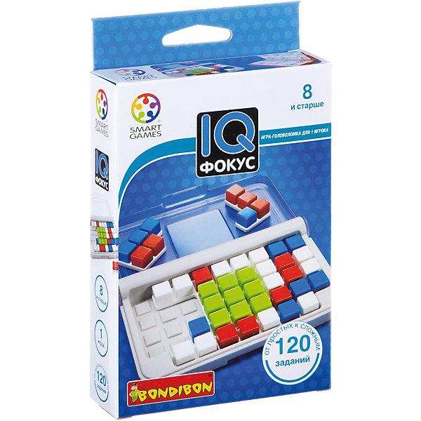 Игра-головоломка Фокус BondibonГоловоломки - игры<br>Характеристики:<br><br>• возраст: от 8 лет;<br>• материал: пластик;<br>• количество игроков: 1;<br>• в наборе: игровое поле-чемоданчик, 10 цветных элементов, инструкция с 120 заданиями;<br>• вес: 196 гр.;<br>• размер упаковки: 2,8х9,7х14,4 см.<br><br>«Фокус» от Bondibon — игра серии IQ. После прохождения всех заданий из руководства повышается уровень интеллектуальных способностей, развивается внимательность и логическое мышление.<br><br>Головоломка будет интересна и ребенку, и взрослому за счет увлекательных задач. Нужно выложить детали на сетке с учетом того, как расположен центральный квадрат в задании. Набор легко взять собой в дорогу взамен игровым приложениям на планшете или телефоне.<br><br>Игру-головоломку «Фокус» Bondibon можно купить в нашем интернет-магазине.<br>Ширина мм: 144; Глубина мм: 97; Высота мм: 28; Вес г: 196; Возраст от месяцев: 96; Возраст до месяцев: 2147483647; Пол: Унисекс; Возраст: Детский; SKU: 7419989;
