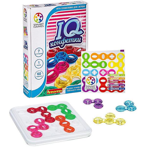 Игра-головоломка Конфетки BondibonГоловоломки - игры<br>Характеристики:<br><br>• возраст: от 7 лет;<br>• материал: пластик;<br>• количество игроков: 1;<br>• 5 уровней сложности;<br>• в наборе: игровое поле, 7 цветных деталей, правила игры, буклет с 60 заданиями;<br>• вес: 900 гр.;<br>• размер упаковки: 5,5х15,5х18 см.<br><br>«Конфетки» от Bondibon — игра серии IQ. После прохождения всех заданий из руководства повышается уровень интеллектуальных способностей, развивается внимательность и логическое мышление.<br><br>Головоломка будет интересна и ребенку, и взрослому за счет увлекательных задач. Нужно выложить детали на поле в определенном порядке, который указан в руководстве. Есть только один верный вариант! <br><br>Яркий дизайн игры поднимает настроение. Набор легко взять собой в дорогу взамен игровым приложениям на планшете или телефоне.<br><br>Игру-головоломку «Конфетки» Bondibon можно купить в нашем интернет-магазине.<br>Ширина мм: 155; Глубина мм: 50; Высота мм: 160; Вес г: 900; Возраст от месяцев: 84; Возраст до месяцев: 2147483647; Пол: Унисекс; Возраст: Детский; SKU: 7419992;
