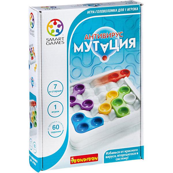 Игра-головоломка Антивирус. Мутация BondibonГоловоломки - игры<br>Характеристики:<br><br>• возраст: от 7 лет;<br>• материал: пластик;<br>• количество игроков: 1;<br>• в наборе: игровое поле с отделом для хранения, 6 деталей, инструкция с 60 заданиями;<br>• вес: 429 гр.;<br>• размер упаковки: 4,5х17х24 см.<br><br>«Антивирус. Мутация» от Bondibon — захватывающая игра, в которой нужно всеми силами избежать заражения красным вирусом. Нужно передвигать цветные элементы так, чтобы исключить ненужную фишку с поля.<br><br>Условия различаются по уровню сложности. Тот, кто выполнит все 60 задач получит бесценный опыт для развития логического мышления и внимательности. Набор легко взять собой в дорогу взамен игровым приложениям на планшете или телефоне.<br><br>Игру-головоломку «Антивирус. Мутация» Bondibon можно купить в нашем интернет-магазине.<br>Ширина мм: 45; Глубина мм: 240; Высота мм: 170; Вес г: 429; Возраст от месяцев: 84; Возраст до месяцев: 2147483647; Пол: Унисекс; Возраст: Детский; SKU: 7419995;