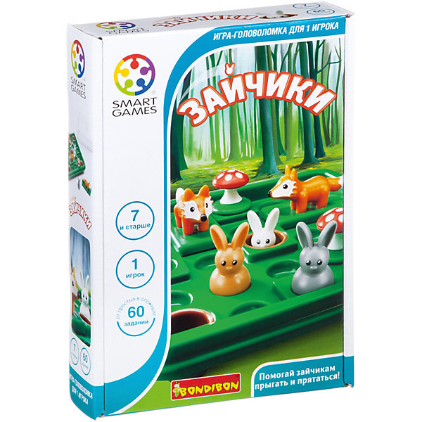 Игра-головоломка Зайчики BondibonГоловоломки - игры<br>Характеристики:<br><br>• возраст: от 4 лет;<br>• материал: пластик;<br>• количество игроков: 1;<br>• в наборе: игровое поле с отделом для хранения, 8 деталей, инструкция с 60 заданиями;<br>• вес: 433 гр.;<br>• размер упаковки: 4,7х17х24 см.<br><br>«Зайчики» от Bondibon — забавная головоломка, в которой нужно успеть загнать зайчат в норки, пока их не съела лиса. Все фигурки объемные, вызывают интерес к игре.<br><br>Условия различаются по уровню сложности. Тот, кто выполнит все 60 задач получит бесценный опыт для развития логического мышления и внимательности. Набор легко взять собой в дорогу взамен игровым приложениям на планшете или телефоне.<br><br>Игру-головоломку «Зайчики» Bondibon можно купить в нашем интернет-магазине.<br>Ширина мм: 170; Глубина мм: 45; Высота мм: 240; Вес г: 433; Возраст от месяцев: 48; Возраст до месяцев: 2147483647; Пол: Унисекс; Возраст: Детский; SKU: 7419996;