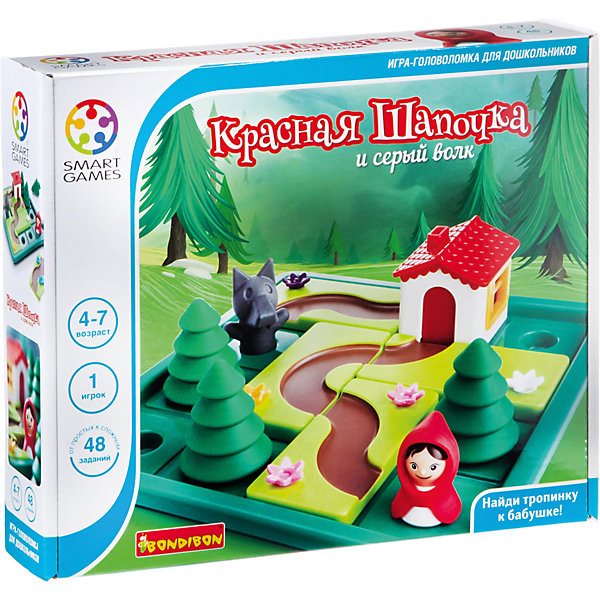 Игра-головоломка Красная шапочка и серый волк BondibonГоловоломки - игры<br>Характеристики:<br><br>• возраст: от 4 лет;<br>• материал: пластик;<br>• количество игроков: 1;<br>• в наборе: игровое поле, фигурки, 48 заданий, книга про Красную шапочку в новой интерпретации с иллюстрациями;<br>• вес: 750 гр.;<br>• размер упаковки: 6х29х24 см.<br><br>«Красная шапочка и серый волк» от Bondibon — всем знакомый сюжет теперь в головоломке. Главная задача — довести Красную шапочку до дома бабушки быстрее, чем до нее доберется волк. Игру можно вести от лица девочки или от лица волка, чтобы процесс стал интересней. Разные задания усложняют игру, в результате развивается логическое мышление и внимательность.<br><br>Игру-головоломку «Красная шапочка и серый волк» Bondibon можно купить в нашем интернет-магазине.<br><br>Ширина мм: 60<br>Глубина мм: 290<br>Высота мм: 240<br>Вес г: 750<br>Возраст от месяцев: 564<br>Возраст до месяцев: 2147483647<br>Пол: Унисекс<br>Возраст: Детский<br>SKU: 7420000