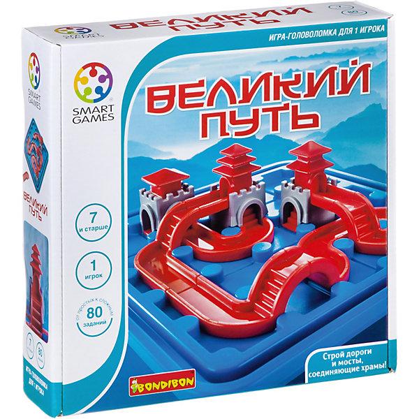 Игра-головоломка Великий путь BondibonГоловоломки - игры<br>Характеристики:<br><br>• возраст: от 4 лет;<br>• материал: пластик;<br>• количество игроков: 1;<br>• в наборе: игровое поле, детали: пути и храмы, 80 заданий;<br>• вес: 600 гр.;<br>• размер упаковки: 6х29х24 см.<br><br>«Великий путь» от Bondibon — увлекательная игра, где нужно соединить храмы с помощью разных дорог и лестниц. Будет ли это просто или сложно зависит от задания. Найдя все решения, ребенок продвинет свои логически способности на новый уровень. Головоломка развивает фантазию и внимательность.<br><br>Игру-головоломку «Великий путь» Bondibon можно купить в нашем интернет-магазине.<br>Ширина мм: 60; Глубина мм: 240; Высота мм: 240; Вес г: 600; Возраст от месяцев: 48; Возраст до месяцев: 2147483647; Пол: Унисекс; Возраст: Детский; SKU: 7420006;