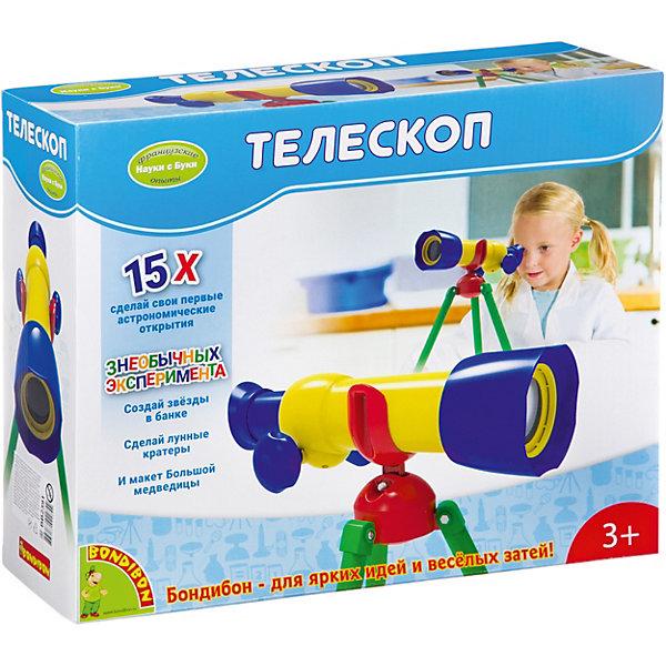 Французские опыты Науки с Буки Телескоп 15X BondibonТелескопы<br>Характеристики:<br><br>• возраст: от 3 лет;<br>• материал: пластик;<br>• в коробке: телескоп;<br>• вес: 750 гр.;<br>• размер упаковки: 10,2х33х27 см.<br><br>«Телескоп 15Х» Bondibon создан для самых маленьких исследователей. С помощью игрушки малыш сможет понаблюдать за звездным небом, животными и людьми на улице, почувствует себя причастным к миру астрономии.<br><br>Игра развивает внимательность, кругозор и еще ближе знакомит ребенка с окружающим миром.<br><br>Французские опыты Науки с Буки «Телескоп 15Х» Bondibon можно купить в нашем интернет-магазине.<br><br>Ширина мм: 102<br>Глубина мм: 330<br>Высота мм: 270<br>Вес г: 750<br>Возраст от месяцев: 36<br>Возраст до месяцев: 2147483647<br>Пол: Унисекс<br>Возраст: Детский<br>SKU: 7420022