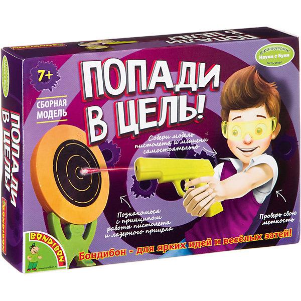 Французские опыты Науки с Буки Попади в цель! BondibonХимия и физика<br>Характеристики:<br><br>• возраст: от 7 лет;<br>• материал: пластик;<br>• в коробке: отвертка, детали пистолета/человечка/мишени, шурупы, инструкция;<br>• тип батарейки: 1хААА;<br>• наличие батарейки: не в комплекте;<br>• вес: 342 гр.;<br>• размер упаковки: 5х22,5х16,5 см.<br><br>«Попади в цель!» Bondibon — увлекательный набор, в котором предстоит самостоятельно собрать пистолет и мишень. Пистолет с лазерным прицелом поможет натренировать меткость и почувствовать себя специальным агентом по обезвреживанию преступников. Сборка моделей развивает логическое мышление и внимательность.<br><br>Французские опыты Науки с Буки «Попади в цель!» Bondibon можно купить в нашем интернет-магазине.<br><br>Ширина мм: 50<br>Глубина мм: 225<br>Высота мм: 165<br>Вес г: 342<br>Возраст от месяцев: 84<br>Возраст до месяцев: 2147483647<br>Пол: Унисекс<br>Возраст: Детский<br>SKU: 7420037