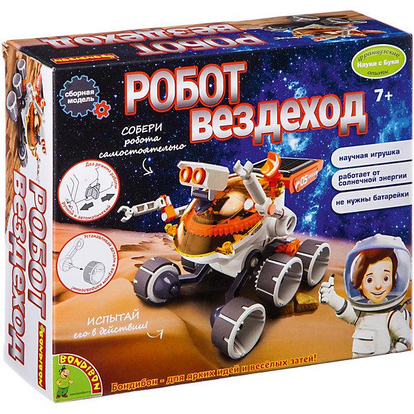 Французские опыты Науки с Буки Робот-вездеход BondibonРобототехника и электроника<br>Характеристики:<br><br>• возраст: от 7 лет;<br>• материал: пластик, металл;<br>• в коробке: детали игрушки, инструкция;<br>• вес: 266 гр.;<br>• размер упаковки: 4,5х20,5х15,5 см.<br><br>«Робот-вездеход» Bondibon — оригинальная сборная игрушка, которая работает на солнечных батареях. Модель задвигается только в том случае, если все детали будут собраны правильно. Поможет в этом понятное руководство.<br><br>Роботом можно управлять и в ручном режиме. А для автоматического — нужно играть в дневное время, чтобы он зарядился солнечным светом.<br><br>Французские опыты Науки с Буки «Робот-вездеход» Bondibon можно купить в нашем интернет-магазине.<br>Ширина мм: 45; Глубина мм: 205; Высота мм: 155; Вес г: 266; Возраст от месяцев: 84; Возраст до месяцев: 2147483647; Пол: Унисекс; Возраст: Детский; SKU: 7420056;