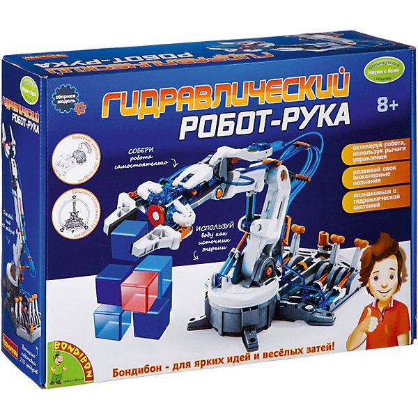 Французские опыты Науки с Буки Гидравлический робот-рука BondibonРобототехника и электроника<br>Характеристики:<br><br>• возраст: от 8 лет;<br>• материал: пластик, металл;<br>• в коробке: 229 деталей, инструкция;<br>• вес: 1,37 кг.;<br>• размер упаковки: 8х27х27 см.<br><br>«Гидравлический робот-рука» Bondibon — необычная игрушка, она работает на воде и демонстрирует всю силу науки. Для начала робота в виде руки нужно собрать из всех деталей набора. Руководство поможет справиться с этой задачей. А после можно устраивать эксперименты с захватом разных предметов. Набор развивает логическое мышление и дает знания о физических процессах.<br><br>Французские опыты Науки с Буки «Гидравлический робот-рука» Bondibon можно купить в нашем интернет-магазине.<br>Ширина мм: 80; Глубина мм: 270; Высота мм: 270; Вес г: 1375; Возраст от месяцев: 96; Возраст до месяцев: 2147483647; Пол: Унисекс; Возраст: Детский; SKU: 7420058;