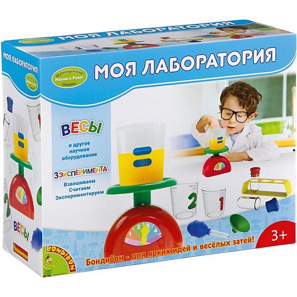 Французские опыты Науки с Буки Моя лаборатория BondibonХимия и физика<br>Характеристики:<br><br>• возраст: от 3 лет;<br>• материал: пластик;<br>• в наборе: весы, мерные стаканчики, пипетка, держатель, аксессуары;<br>• вес: 765 гр.;<br>• размер упаковки: 11,8х33х27 см.<br><br>«Моя лаборатория» от Bondibon — эксперименты для самых юных лаборантов. С помощью этого набора малыш научится обращаться с весами, взвешивать разные предметы одного или разного веса. Игры с набором дают базовые знания физики, развивают мелкую моторику и логическое мышление.<br><br>Французские опыты Науки с Буки «Моя лаборатория» Bondibon можно купить в нашем интернет-магазине.<br>Ширина мм: 118; Глубина мм: 330; Высота мм: 270; Вес г: 765; Возраст от месяцев: 36; Возраст до месяцев: 2147483647; Пол: Унисекс; Возраст: Детский; SKU: 7420083;