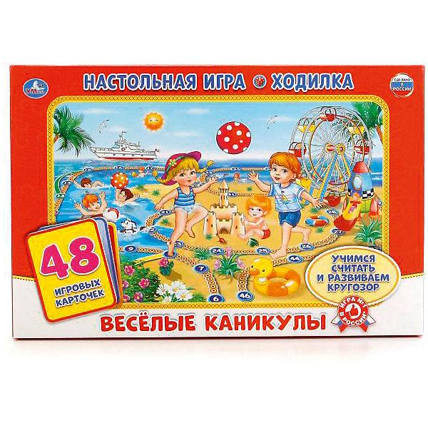 Настольная игра-ходилка Веселые каникулы (48 карточки).Настольные игры ходилки<br>Играй и развивайся с настольными играми УМка! Большое красочное поле привлечёт внимание ребенка: здесь и любимые герои, и забавные фразы из мультфильмов, и мир приключений! Игра носит обучающий характер: каждый ход пронумерован, а также игрок должен отсчитывать количество ходов.<br><br>Ширина мм: 210<br>Глубина мм: 30<br>Высота мм: 330<br>Вес г: 150<br>Возраст от месяцев: 36<br>Возраст до месяцев: 84<br>Пол: Унисекс<br>Возраст: Детский<br>SKU: 7420262