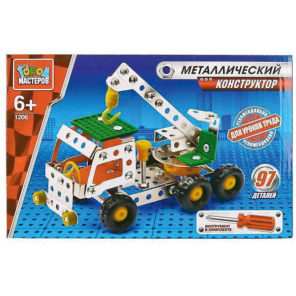 Конструктор металлический Кран.Металлические конструкторы<br>Металлический конструктор Кран состоит из 204 деталей. Из них мальчику предлагается собрать модель строительного крана, для удобства сборки в комплекте идёт отвёртка. Полученной игрушкой ребенок сможет играть, потому что у машинки подвижные колеса. Следуя приложенной схеме-инструкции, применив смекалку и терпение, ребенок увлекательно и полезно проведет время, развивая фантазию, глазомер и пространственное мышление. Предназначено для уроков труда и домашнего досуга. Рекомендовано детям старше 6-ти лет<br>Ширина мм: 250; Глубина мм: 50; Высота мм: 170; Вес г: 430; Возраст от месяцев: 36; Возраст до месяцев: 84; Пол: Мужской; Возраст: Детский; SKU: 7420264;