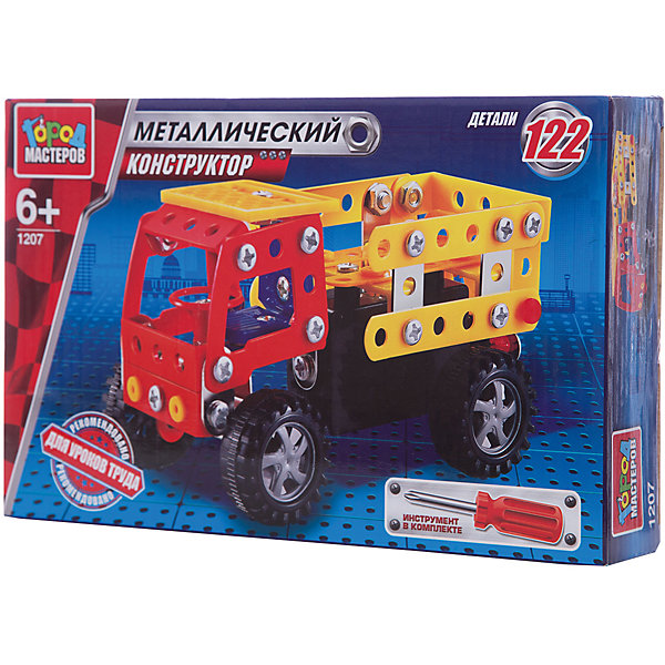 Конструктор металлический Грузовик.Металлические конструкторы<br>Металлический конструктор Грузовик состоит из 122 деталей. Из них мальчику предлагается собрать модель грузовика, для удобства сборки в комплекте идёт отвёртка. Полученной игрушкой ребенок сможет играть, потому что у машинки подвижные колеса. Следуя приложенной схеме-инструкции, применив смекалку и терпение, ребенок увлекательно и полезно проведет время, развивая фантазию, глазомер и пространственное мышление. Предназначено для уроков труда и домашнего досуга. Рекомендовано детям старше 6-ти лет<br>Ширина мм: 250; Глубина мм: 50; Высота мм: 170; Вес г: 240; Возраст от месяцев: 36; Возраст до месяцев: 84; Пол: Мужской; Возраст: Детский; SKU: 7420265;
