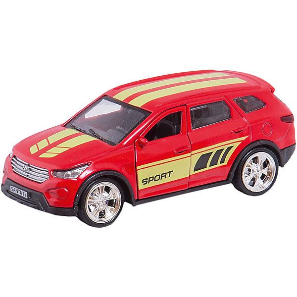 Машина Hyundai Santafe 12см, металлическая, инерционная с открывающимися дверьми и багажником.Машинки<br>HYUNDAI SANTAFE - это реалистично выполненная модель кроссовера, обладающего встроенным инерционным механизмом. Отличительные черты данной модели - красочный оригинальный дизайн, выполненный в ярком красном цвете с надписью Sport, а также открывающиеся багажник и двери. Благодаря этому, всегда можно будет заглянуть машинке внутрь, чтобы убедиться - каждая ее деталь проработана «на отлично». Развивает фантазию и мелкую моторику. Размер машинки 12 см. Сделана из прочного высококачественного металла. Рекомендовано детям старше 3-х лет.<br><br>Ширина мм: 80<br>Глубина мм: 70<br>Высота мм: 130<br>Вес г: 170<br>Возраст от месяцев: 36<br>Возраст до месяцев: 84<br>Пол: Мужской<br>Возраст: Детский<br>SKU: 7420276