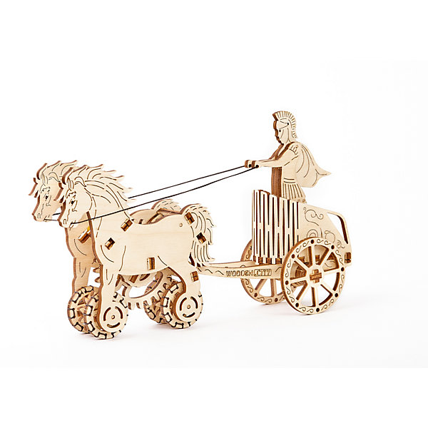 Сборная модель Римская колесница Wooden CityДеревянные модели<br>Характеристики товара:<br><br>• количество деталей: 69;<br>• возраст: от 14 лет;<br>• размер модели: 22х5,5х13 см;<br>• время сборки: 2-3 часа;<br>• материал: фанера;<br>• размер упаковки: 25х18х3 см;<br>• страна бренда: Польша.<br><br>Римская колесница от Wooden City состоит из 69 деталей, изготовленных из березовой фанеры. Для сборки не требуется клей и инструменты. Все детали вырезаны, их остается только выдавить из поля. Готовая модель состоит из колесницы, римлянина и пары лошадей. Управление моделью осуществляется с помощью резинки. Чтобы завести колесницу, достаточно лишь покрутить колеса. При этом колесница начнет движение, кони встанут на дыбы, а фигурка римлянина будет имитировать управление колесницей.<br><br>Сборную модель «Римская колесница» Wooden City (Вуден Сити) можно купить в нашем интернет-магазине.<br>Ширина мм: 240; Глубина мм: 175; Высота мм: 28; Вес г: 300; Возраст от месяцев: 168; Возраст до месяцев: 2147483647; Пол: Унисекс; Возраст: Детский; SKU: 7421676;