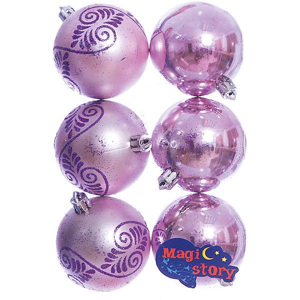Набор шаров 6*6см Magic Story розовыйЁлочные игрушки<br>Характеристики:<br><br>• в наборе: 6 шт.;<br>• материал: пластик;<br>• диаметр: 6 см;<br>• вес упаковки: 78 гр.;<br>• размер упаковки: 12х6х18 см.<br><br>Шары из набора Magic Story выполнены из пластика, а значит не разобьются при случайном падении и останутся в коллекции елочных украшений на многие годы.<br><br>Три шара имеют матовое покрытие с узорами. Остальные три — глянцевые, превосходно отражающие свет. Краски украшений стойкие и насыщенные, не выцветают со временем. Подвесить шары можно с помощью специальных петелек.<br><br>Набор шаров 6х6 см Magic Story розовый можно купить в нашем интернет-магазине.<br>Ширина мм: 120; Глубина мм: 60; Высота мм: 180; Вес г: 78; Возраст от месяцев: 36; Возраст до месяцев: 2147483647; Пол: Унисекс; Возраст: Детский; SKU: 7422325;