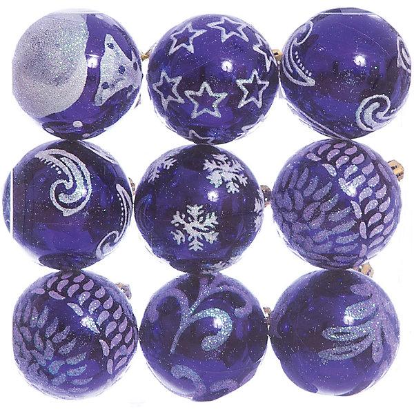 Набор шаров 9*6см Magic Story синийЁлочные игрушки<br>Характеристики:<br><br>• в наборе: 9 шт.;<br>• материал: пластик;<br>• диаметр: 6 см;<br>• вес упаковки: 86 гр.;<br>• размер упаковки: 18х6х18 см.<br><br>Шары из набора Magic Story выполнены из пластика, а значит не разобьются при случайном падении и останутся в коллекции елочных украшений на многие годы.<br><br>Шары имеют глянцевое покрытие, великолепно отражают свет. Поверхность украшена разнообразными узорами и блестками. Краски украшений стойкие и насыщенные, не выцветают со временем. Подвесить шары можно с помощью специальных петелек.<br><br>Набор шаров 9х6 см Magic Story синий можно купить в нашем интернет-магазине.<br>Ширина мм: 180; Глубина мм: 60; Высота мм: 180; Вес г: 86; Возраст от месяцев: 36; Возраст до месяцев: 2147483647; Пол: Унисекс; Возраст: Детский; SKU: 7422331;