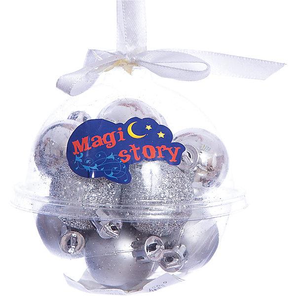 Набор шаров 12*3см Magic Story сереброЁлочные игрушки<br>Характеристики:<br><br>• в наборе: 12 шт.;<br>• материал: пластик;<br>• диаметр: 3 см;<br>• вес упаковки: 64 гр.;<br>• размер упаковки: 10х10х10 см.<br><br>Шары из набора Magic Story выполнены из пластика, а значит не разобьются при случайном падении и останутся в коллекции елочных украшений на многие годы.<br><br>В наборе есть однотонные глянцевые шары, матовые и покрытые глиттером. Краски украшений стойкие и насыщенные, не выцветают со временем. Шарики можно подвесить с помощью специальных петелек. Лучше всего декоры будут смотреться на небольшой елочке.<br><br>Набор шаров 12х3 см Magic Story серебро можно купить в нашем интернет-магазине.<br>Ширина мм: 100; Глубина мм: 100; Высота мм: 100; Вес г: 64; Возраст от месяцев: 36; Возраст до месяцев: 2147483647; Пол: Унисекс; Возраст: Детский; SKU: 7422349;