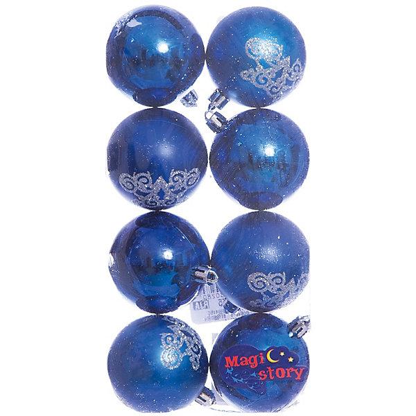 Набор шаров 8*6см Magic Story синийЁлочные игрушки<br>Характеристики:<br><br>• в наборе: 8 шт.;<br>• материал: пластик;<br>• диаметр: 6 см;<br>• вес упаковки: 78 гр.;<br>• размер упаковки: 12х6х24 см.<br><br>Шары из набора Magic Story выполнены из пластика, а значит не разобьются при случайном падении и останутся в коллекции елочных украшений на многие годы.<br><br>Четыре шара – глянцевые, великолепно отражающие свет. Остальные – матовые с блестящими узорами. Краски украшений стойкие и насыщенные, не выцветают со временем. Шары можно подвесить с помощью специальных петелек.<br><br>Набор шаров 8х6 см Magic Story синий можно купить в нашем интернет-магазине.<br>Ширина мм: 120; Глубина мм: 60; Высота мм: 240; Вес г: 78; Возраст от месяцев: 36; Возраст до месяцев: 2147483647; Пол: Унисекс; Возраст: Детский; SKU: 7422355;