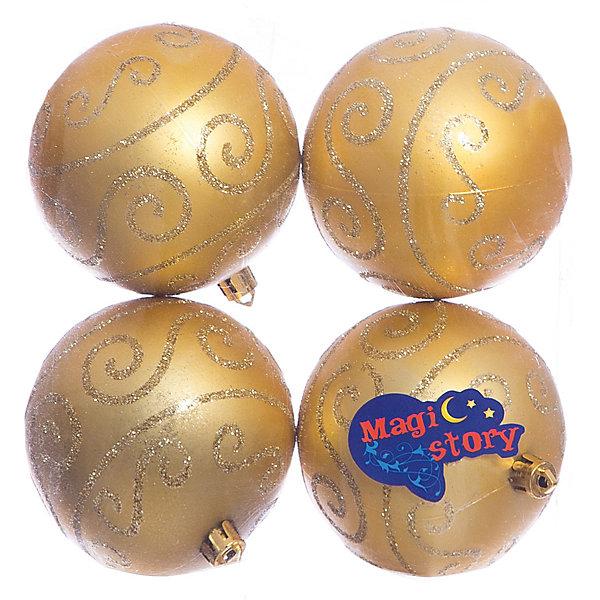 Набор шаров 4*8см Magic Story золотоЁлочные игрушки<br>Характеристики:<br><br>• в наборе: 4 шт.;<br>• материал: пластик;<br>• диаметр: 8 см;<br>• вес упаковки: 92 гр.;<br>• размер упаковки: 16х8х16 см.<br><br>Шары из набора Magic Story выполнены из пластика, а значит не разобьются при случайном падении и останутся в коллекции елочных украшений на многие годы.<br><br>Шары имеют матовое покрытие, украшены очаровательными узорами с блестками. Краски украшений стойкие и насыщенные, не выцветают со временем. Шары можно подвесить с помощью специальных петелек.<br><br>Набор шаров 4х8 см Magic Story золото можно купить в нашем интернет-магазине.<br><br>Ширина мм: 160<br>Глубина мм: 80<br>Высота мм: 160<br>Вес г: 92<br>Возраст от месяцев: 36<br>Возраст до месяцев: 2147483647<br>Пол: Унисекс<br>Возраст: Детский<br>SKU: 7422367